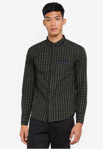 Fidelio 綠色 長袖格紋襯衫 2A661AA1AA59F7GS_1