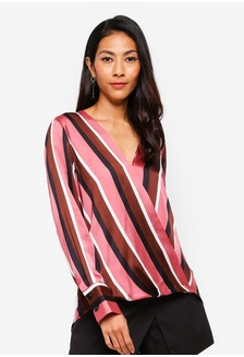 db62bc89ccb3 Berry Satin Look Striped Wrap Shirt CC21FAA7AF416CGS 1