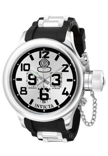 INVICTA silver Invicta Russian Diver Men 51.5mm Case Steel, Black Stainless Steel, Polyurethane Strap Silver Dial Quartz Watch 0246 IN968AC0F5HASG_1