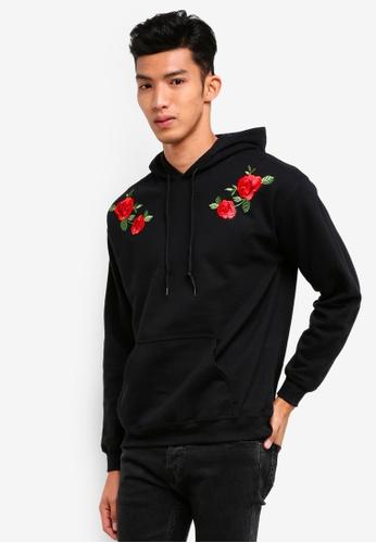 Topman black Black Rose Hoodie 5762BAA73D454CGS_1