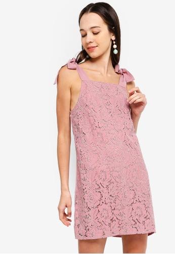 Something Borrowed 粉紅色 Self Tie Lace Shift Dress D4083AA8FA290DGS_1