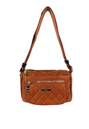 Mel&Co orange Front Quilted Nylon Sling Bag 4D9E4AC1E1FDC4GS_1