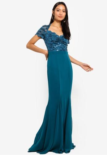 Goddiva blue Sequin And Lace Scalloped Neckline Maxi Dress D7238AA0B4E8F2GS_1