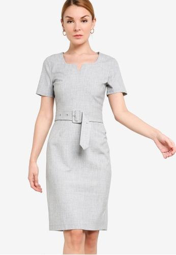ZALORA WORK grey Notch Neck Sheath Dress 6D7C4AA4CCACEEGS_1