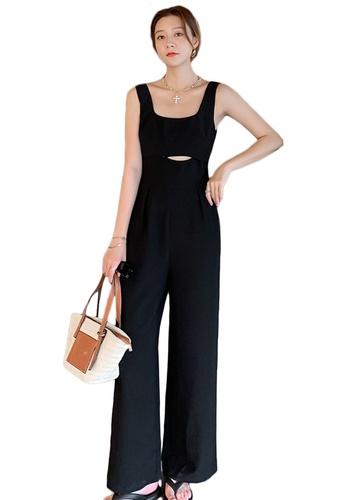 Sunnydaysweety black Sexy Sleeveless Open Waist Wide-Leg Jumpsuit A21031933 48908AAF9A73BAGS_1
