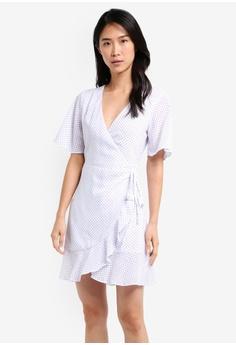 b7f395a6c6e ZALORA white Wrap Dress With Ruffle E3F71AA282F5E3GS 1