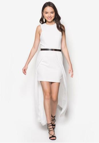 雙層長擺zalora時尚購物網評價腰帶洋裝, 服飾, 洋裝