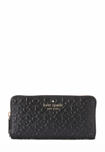 Kate Spade black Kate Spade Hollie Spade Clover Geo Embossed Large Continental Wallet - Black A624EAC2EF041CGS_1
