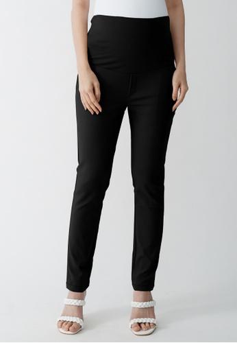 9months Maternity black Black Maternity Full Panel Slim Fit Pants DB6A2AA346578CGS_1