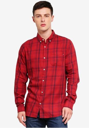 Cotton On 紅色 長袖格紋襯衫 BC100AAB5272D3GS_1