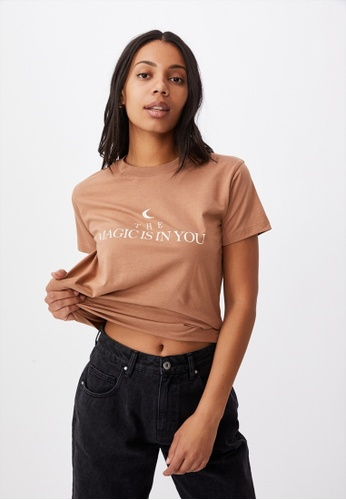 Cotton On brown Classic Slogan T Shirt 3853FAABCCD2F3GS_1