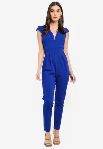 WALG blue V-Neck Jumpsuit 4DBA3AA4FBB7A1GS_1