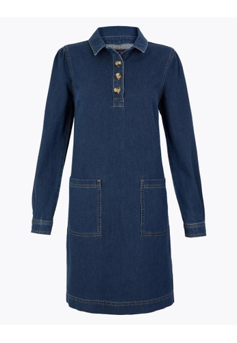 MARKS & SPENCER blue M&S Pure Cotton Button Detailed Shift Dress 3425DAA4F0F0C6GS_1