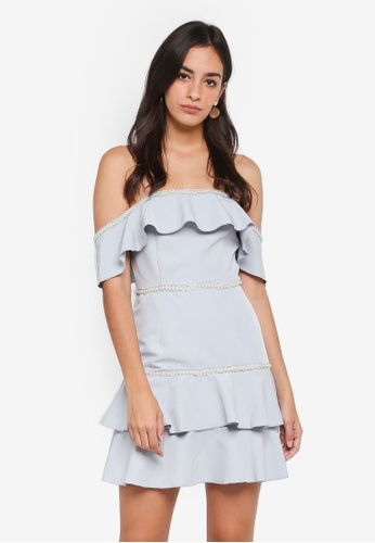 MISSGUIDED grey Bardot Ruffle Pearl Diamante Swing Dress BF561AA70BE92CGS_1