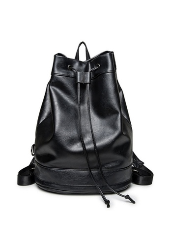 Lara black Drawstring Plain Backpack - Black 1B887AC2A4CE0CGS_1