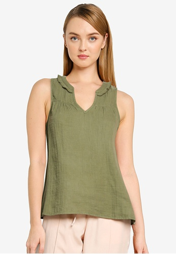 GAP green Zen Ruffle Neck Top 6A675AA7BFDB38GS_1