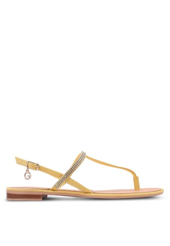 Guess yellow Henrica Rhinestone Sandals GU020SH0S7L7MY_1