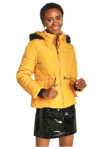 London Rag yellow Yellow Faux Fur Hooded Puffer Jacket AE001AAC586C77GS_1