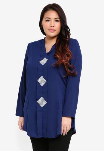 BYN blue Plus Size Kebaya Top 836B2AAD05CF8EGS_1