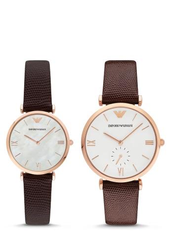ARMANI brown Armani Dark Brown Leather Watch Set AR9042 AR024AC33LUSMY_1