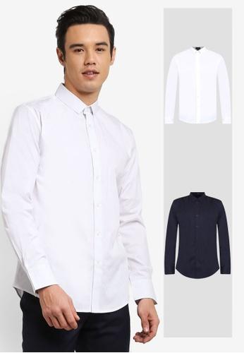 ZALORA white and navy 2 Pack Skinny Fit Cotton Poplin Long Sleeve Shirt ZA919AA0FKG7SG_1