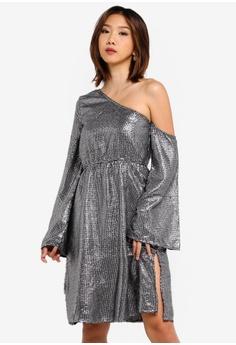 6163a3d8187e NA-KD silver One Shoulder Asymmetric Sequin Dress 343AEAAC07C115GS_1