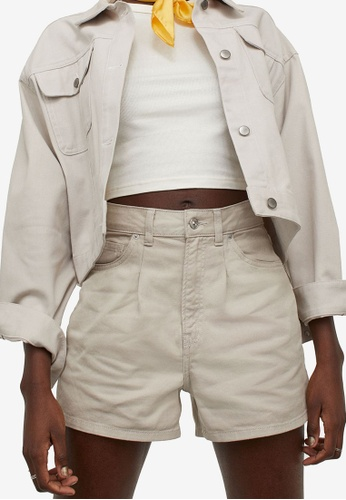 H&M beige High-Waisted Twill Shorts D4BD3AA72377ABGS_1