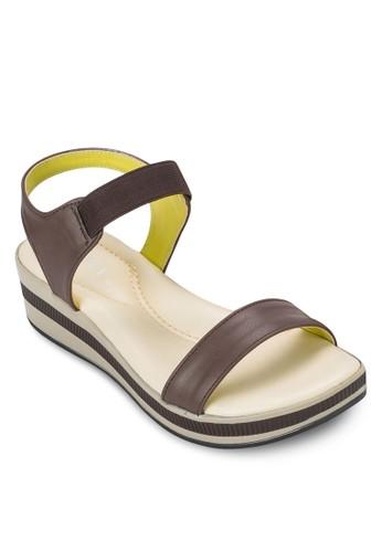 彈性繞踝撞色楔形涼鞋, zalora時尚購物網的koumi koumi女鞋, 鞋