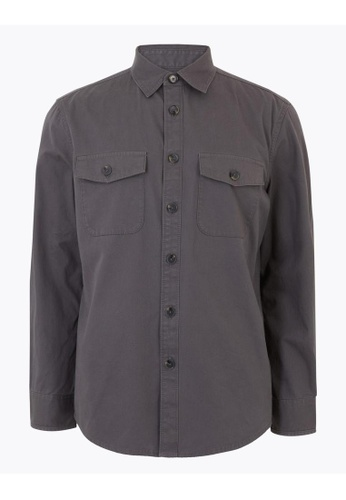 MARKS & SPENCER M&S Pure Cotton Utility Overshirt 1F00AAAF5AE8D0GS_1