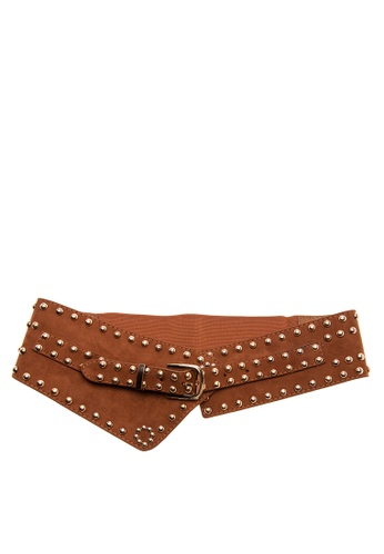 Treasure by B & D brown Garterized Buckle Suede Corset Belt TR022AC0K5K9PH_1
