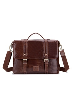 f608f10be00a ENZODESIGN brown ENZODESIGN Buffalo Leather Vintage Flapover Briefcase  8C2ACAC44EB508GS_1