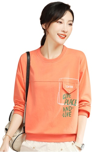 A-IN GIRLS orange Fashion Round Neck Printed Sweater 9FDFCAA31D4A0EGS_1