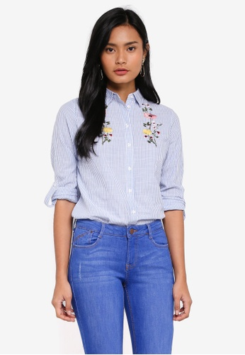 Dorothy Perkins blue Petite Striped Embroidered Shirt E6F7EAAE4EFC20GS_1