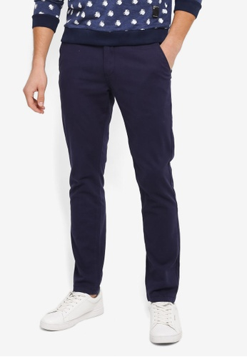 UniqTee navy Slim Chinos With Striped Waistband UN097AA0SYTZMY_1