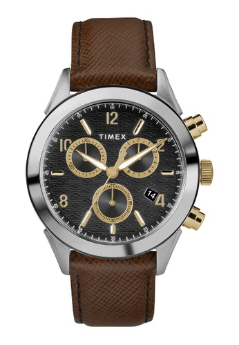 Timex brown and silver Timex Torrington Chrono 40mm - Silver-Tone Case, Brown Strap (TW2R90700) 0781CAC8300F0AGS_1