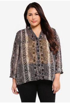 a4b4d0b68ec9a0 Only CARMAKOMA black Plus Size Snake Long Sleeve Shirt A2612AA14689E7GS_1