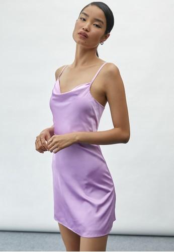 Pomelo purple Open Keyhole Back Mini Dress - Purple F94F1AAB960D1CGS_1