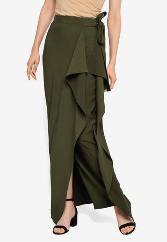 AfiqM green Side Draped Skirt 7FB73AA358BC6DGS_1