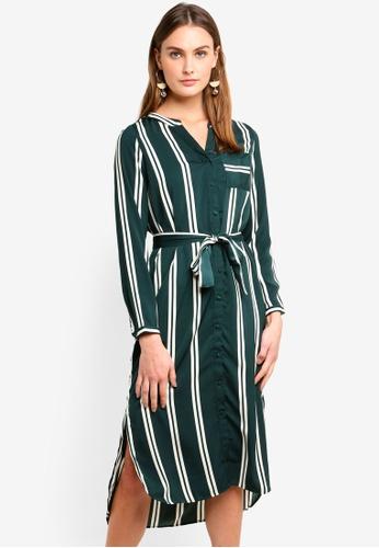 Vero Moda green Katlyn Dalion Long Sleeve Calf Shirt Dress A546EAAB57AF8CGS_1