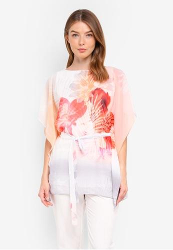 Wallis pink Pale Pink Palm Print Kaftan Top F57D8AAED6AE92GS_1
