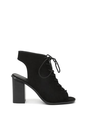 London Rag black Black Lace Up Peep Toe Sandals SH1546 4CB96SHA054024GS_1