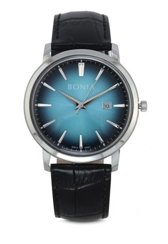 BONIA black and blue Bonia BNB10341-1382 Black/Blue Leather Watch BO777AC0SE1AMY_1