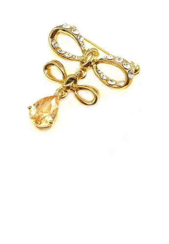 Glamorousky yellow Elegant Ribbon Brooch with Yellow Austrian Element Crystal 271F8AC5AED88AGS_1