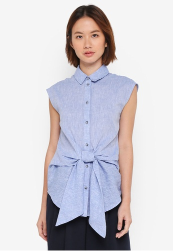 WAREHOUSE blue Chambray Tie Front Shirt A6E6EAAA4EBF7BGS_1