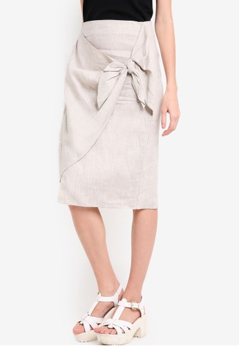 Mango beige Knot Linen Skirt MA193AA61UTEMY_1