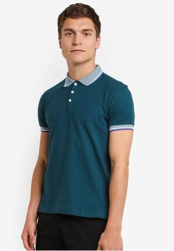 UniqTee green Slim Fit Twin Tipped Polo Shirt UN097AA0RO94MY_1
