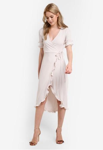 TOPSHOP beige Frill Sleeve Wrap Midi Dress TO412AA82EQZMY_1