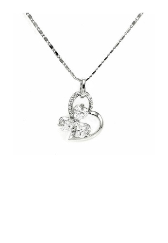 Glamorousky silver Glistering Joyful Heart & Flower Pendant with Silver Austrian Element Crystals and CZ and Necklace CA21FAC1023AE3GS_1