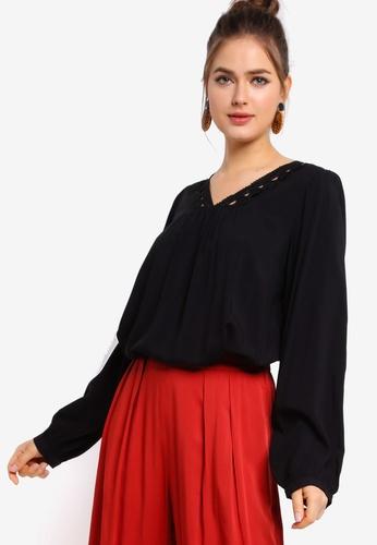 Tula Cruz black High Low Hem Lace Blouse BAA8DAA4551831GS_1