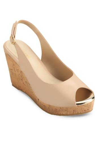 Faschino 露趾繞踝木紋楔型跟涼鞋,尖沙咀 esprit 女鞋, 鞋
